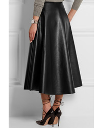 Falda midi de cuero plisada negra de Lanvin