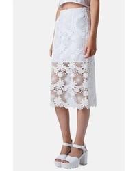 Falda midi de encaje blanca
