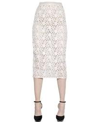 Falda Midi de Encaje Blanca de Burberry