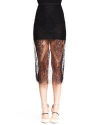 Falda midi de encaje negra
