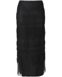 Falda midi de encaje negra de Valentino