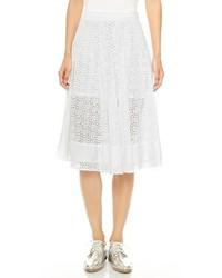 Falda midi de encaje plisada blanca de Rebecca Minkoff