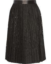 Falda midi de encaje plisada negra de Givenchy