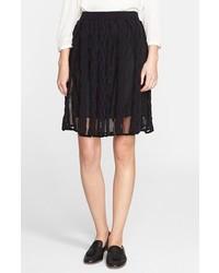 Falda midi de encaje plisada negra de M Missoni
