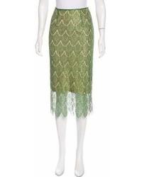 Falda midi de encaje verde