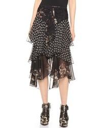 Falda midi de gasa con print de flores negra