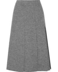 Falda midi de lana gris