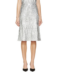 Falda midi de lentejuelas plisada plateada de Nina Ricci