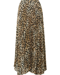 Falda midi de leopardo marrón claro