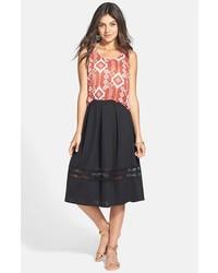 Falda midi de malla negra de Painted Threads