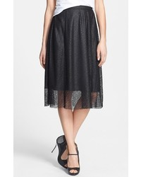 Falda midi de malla negra de Tildon