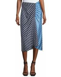 Falda midi de rayas horizontales azul marino
