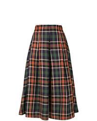 Falda midi de tartán en multicolor