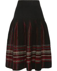 Falda midi de tartán negra