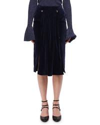 Falda midi de terciopelo azul marino