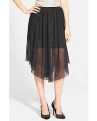 Falda midi de tul plisada negra