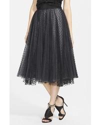 Falda midi de tul plisada negra de Milly