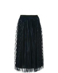 Falda Midi de Tul Plisada Negra de MSGM