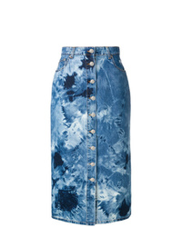 Falda midi efecto teñido anudado azul de MSGM