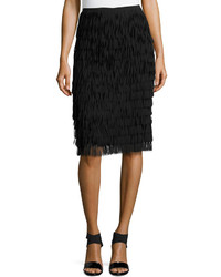 Falda midi сon flecos negra de Lafayette 148 New York