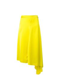 Falda Midi Plisada Amarilla de MSGM