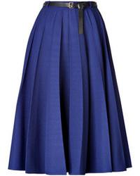 Falda midi plisada azul
