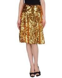 Falda midi plisada dorada