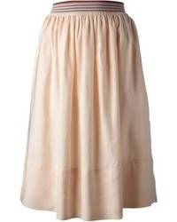 Falda midi plisada en beige de Stella McCartney
