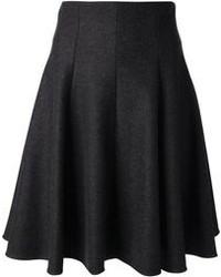 Falda midi plisada en gris oscuro