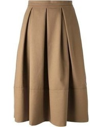 Falda midi plisada marrón