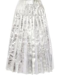 Falda midi plisada plateada de Gucci