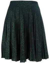Falda midi plisada verde oscuro