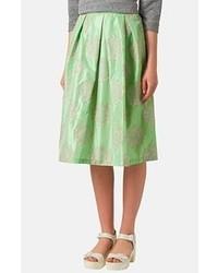 Falda midi plisada verde de Topshop