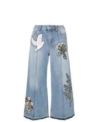 Falda pantalón bordada celeste de Alexander McQueen