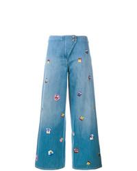 Falda pantalón bordada celeste de Christopher Kane