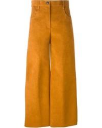 Falda pantalón de ante en tabaco
