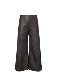 Falda pantalón de cuero en marrón oscuro de Adam Lippes
