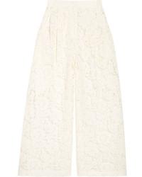 Falda pantalón de encaje blanca de Valentino