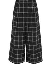 Falda pantalón de lana a cuadros negra de Tibi