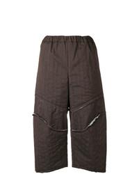 Falda pantalón de lana en marrón oscuro de Comme des Garcons