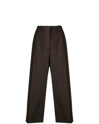 Falda pantalón de lana en marrón oscuro de Marni