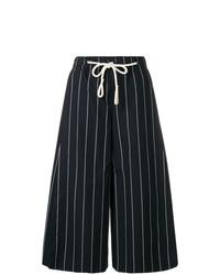 Falda pantalón de rayas verticales azul marino de Vince