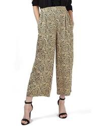 Falda pantalón dorada de Topshop