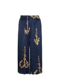 Falda pantalón estampada azul marino