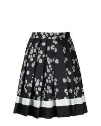 Falda skater con print de flores en negro y blanco de Macgraw
