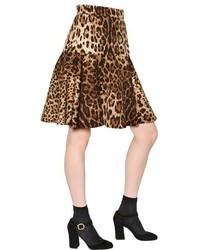 Falda skater de leopardo marrón de Dolce & Gabbana