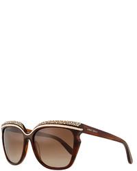 Gafas de sol con adornos marrónes