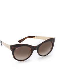 Gafas de sol de leopardo en marrón oscuro de Gucci