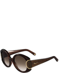 Gafas de sol en marrón oscuro de Salvatore Ferragamo