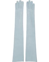 Gants longs en cuir bleu clair Erdem